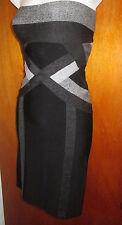 HERVE LEGER BANDAGE DRESS STRAPLESS BLACK & GRAY COLOR BLOCK SZ:XS NWOT