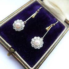 Fine Art Deco Diamond Earrings Daisy Pearl 18ct Gold All Original C.1915-30 Box