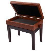 Piano Bench PU Leather Storage Adjustable Height Padded Seat Keyboard Brown