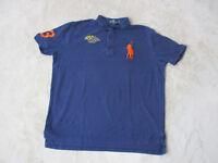 VINTAGE Ralph Lauren Polo Shirt Adult Extra Large Blue Orange RLYC Flags Men 90s