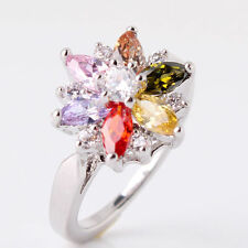 Cocktail Crystal Ring 18ct White Gold Filled cluster size M Topaz Quartz Pink