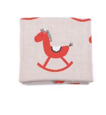 Baby Boys Girls Rocking Horse Cot Pram Blanket Indus Design Baby Shower Gift i