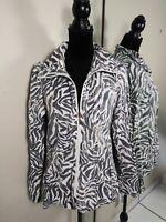 Chicos size 1 Zip Up Jacket Top Womens size Medium Animal Print