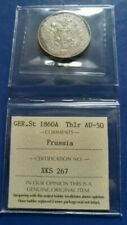 1860-A German States PRUSSIA Thaler Silver Coin ICCS AU-50
