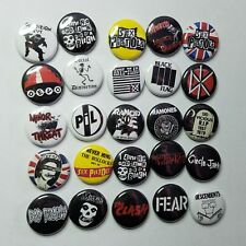 """PUNK ROCK 1"""" PINBACK BUTTON COLLECTION LOT of 25 -pin badge- sex pistols misfits"""