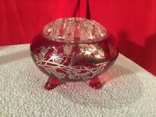 Beautiful Vintage Red Glass With Silver Floral Design Candle Holder