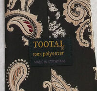 Vintage TOOTAL Tie Mens Wide Necktie Retro DARK BROWN CREAM PAISLEY ABSTRACT