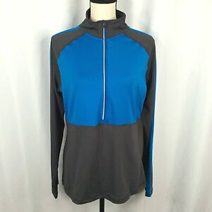 RBX Performance Pullover Top Womens XL Turquoise Blue Gray Gym Running 1/4 Zip