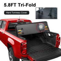 5.8FT Tri-Fold Hard Tonneau Cover For 14-18 Chevy Silverado GMC Sierra Short Bed
