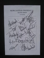 NEWCASTLE UNITED FC  -1996-97 - Original signatures of players on A4 sheet