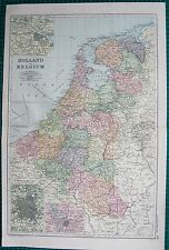 1901 LARGE VICTORIAN  MAP- HOLLAND AND BELGIUM, INSET AMSTERDAM,BRUSSELS,ANTWERP