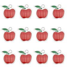 Wholesale Alloy Red Enamel Apple Fruit Pendant Charms Jewelry DIY Findings 15pcs