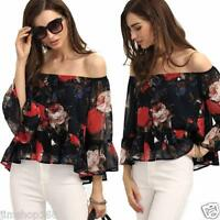 Sexy Womens Off Shoulder Floral Chiffon Blouse Shirt Ladies Casual Tops T-shirt