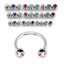 18G 16G 14G Surgical Steel Circular Horseshoe Barbell w/ Gems Septum Nose Ring