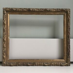 Antique Vintage Distressed Moulded Wooden Picture Frame Soft Pale Gold 37x31cm