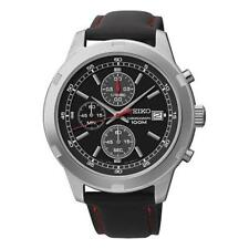 Seiko SKS421P3 100m Leather Strap Chronograph Stopwatch Date Watch RRP £199
