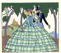 1930s French Pochoir Max Ninon Print Art Deco Victorian Couple Green Dress
