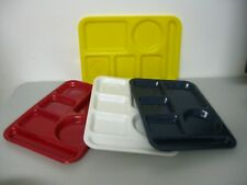 Divided TV Lunch Dinner Meal Picnic Plate Serving Plastic Mixed Colors Set of 4