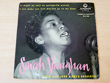 """EX- !! Sarah Vaughan/Sings With Kirby's Orchestra/1956 Gold London 7"""" Single EP"""