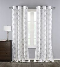 "Two (2) White Sheer Window Curtain Panels: Cotton Blend, Burnout Design, 76""x84"""
