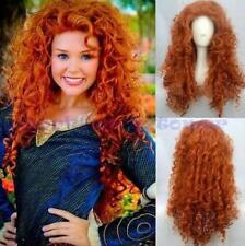 Brave Merida Curly Wavy Orange Hair Cosplay Party Long Wig Costume Wigs