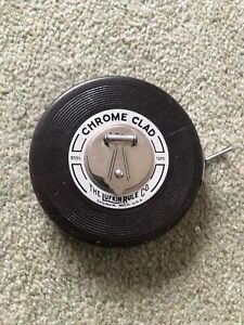Vintage Lufkin Tape Measure, Chrome Clad, 50 ft