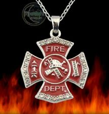 New Firefighter Red Enamel Fire Dept department Seal Pendant Necklace