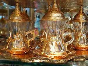 tea set Handmade Turkish Arabic GREEK 6 TEA Cup Saucer Set (colored )Turkish