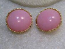 "Vintage Pink Stud Clip Earrings, 1980's, 1"", Gold Tone"