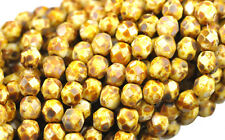 50 BROWN PICASSO GLASS FACETED LOOSE BEADS 6MM
