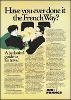 1975 Air France airlines A hedonist's guide to travel vintage art Print Ad ads14