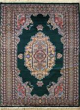 Rugstc 4x6 Pak Persian Green Area Rug, Hand-Knotted,Medallion with Silk/Wool