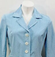 New Talbots Seersucker Blazer Jacket Size 8 P Petites Blue White Striped NWT