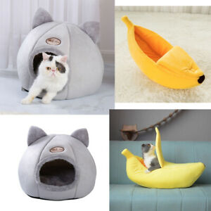 Large Cat Dog Bed Cave Small Wool Cozy Pet Igloo Bed Warm House Nest Kennel Grey