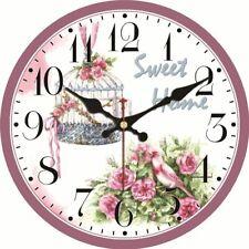Pink flower wall clock, rose, blossom, pink bird, 3 styles, 3 sizes