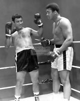 ROCKY MARCIANO AND MUHAMMAD ALI BOXING LEGENDS - 8X10 SPORTS PHOTO (RT255)