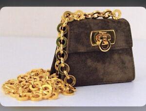 SALVATORE FERRAGAMO Florence Blue Limited Edition Gancini Mini Chain Bag RRP£818