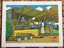Luis Cajiga Serigrafia Prints Kiosco Flamboyan Escena Campesina Puerto Rico 1990