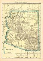 1910 Antique Map of Arizona Original Vintage Arizona State Map smap 8242
