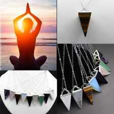 Natural Gemstone Crystal Quartz Healing Reiki Pendulum Pendants Chain Necklace F