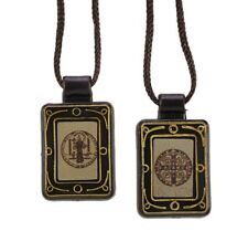 St. Benedict Moulded Scapular  Brown Cord
