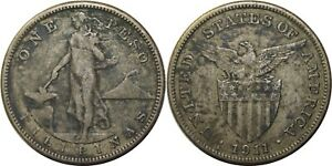 1911-S US/Philippines Peso ~ VF Details / Sea Salvaged ~ Silver ~ A#17.06 ~ X88
