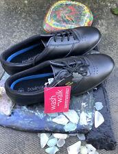 Boulevard Leisure Oxford Ladies Size 8 Lace Up Black Leather Shoes-TREBLE L9856A