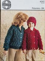 """Sirdar Knitting Pattern 4310 Girls Jackets & Hat 22-28"""" DK Palamino Boys Vintage"""