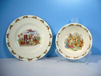 Royal Doulton Bunnykins Childs Plate Bowl Vintage 1930s Mail Letter Cottage