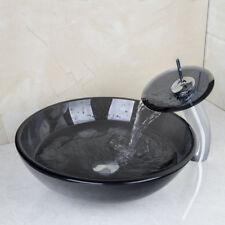 DE Schwarz Runde Schüssel Gehärtetes Waschbecken aus gehärtetem Glas mit Wasserh