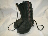 Unknown Brand Women's Lace Up Cowboy Cowgirl Black Leather Boots Conchos sz 6.5