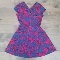 Banana Republic Dress Size 12 Pink Blue Floral A Line Flare V Neck