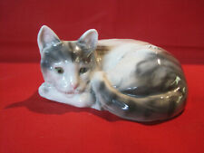 Vintage porcelain cat figurine, Domestic Shorthair gray and white cat figurine