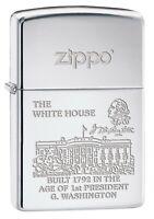 Zippo Lighter: The White House, Engraved - High Polish Chrome 77196